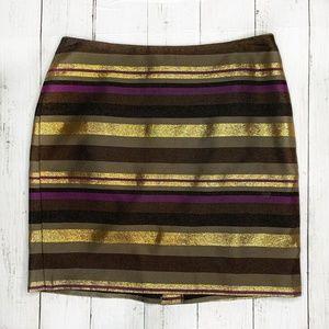 Banana Republic Striped Gold + Purple Mini Skirt 2
